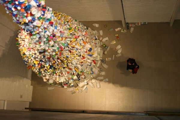 36 Feet High Art Installation With Reused Plastic Bottles