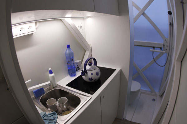 A view of the kitchen and bathroom in one of the world's narrowest buildings in Warsaw