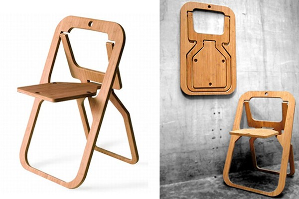 folding chair made from a single piece of wood desile