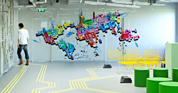 Innovative office interiors created by blowing up ict for Pixel people interior designer