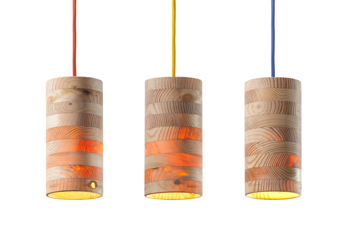 Lamp design throws warm light that passes through wood for Lamp design