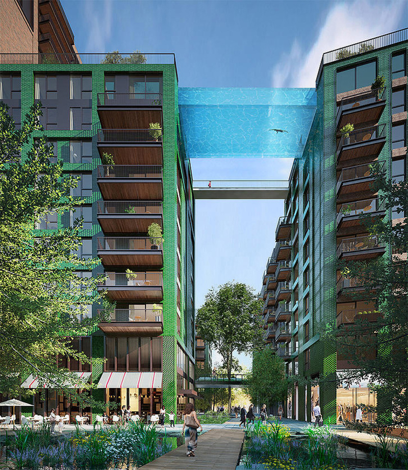 Structure Free Sky Pool Bridges Residential Complex In London