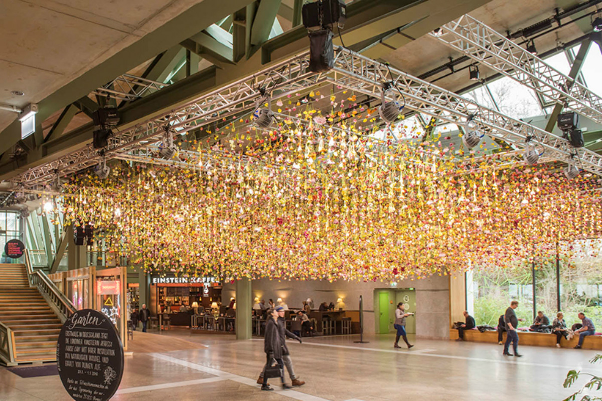 Suspended spring garden created from 30000 flowers brings the ...