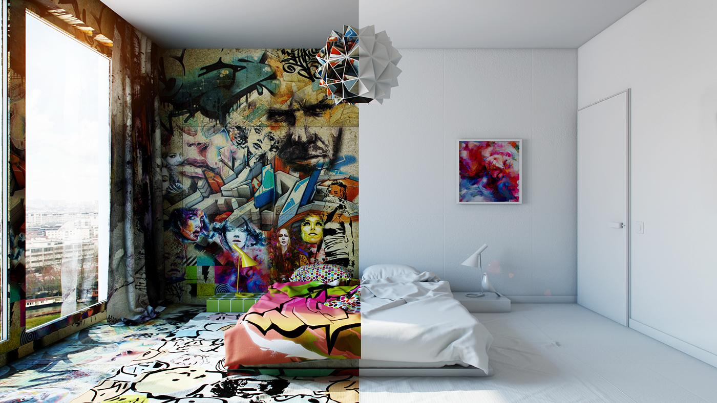 Designer Fuses Minimalism With Street Art Aesthetics