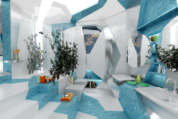 designers geometricize water in a bathroom design - Bathroom Designers